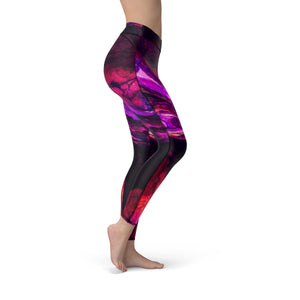 Women's Red Wave Hand Sewn Leggings
