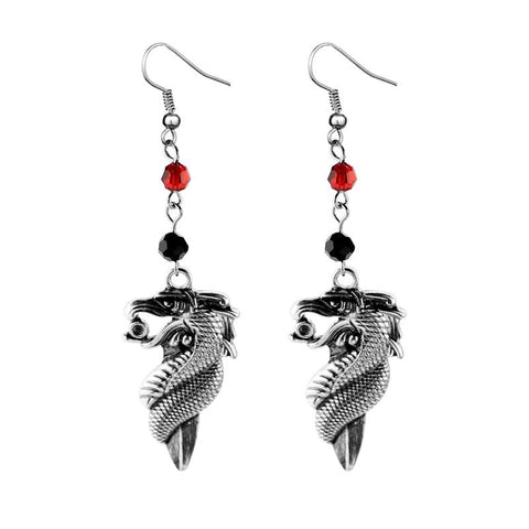 Game of Thrones Sword and Dragon Drop Earrings