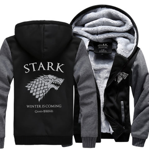 Fleece Thicken Sweatshirt Men Brand High Quality Game of Throne Hoodie