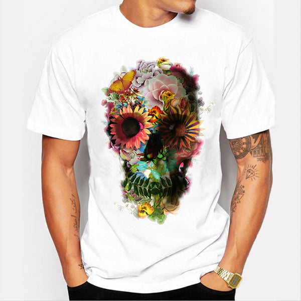 Men Punk Skull Floral Print Short Sleeve T Shirt