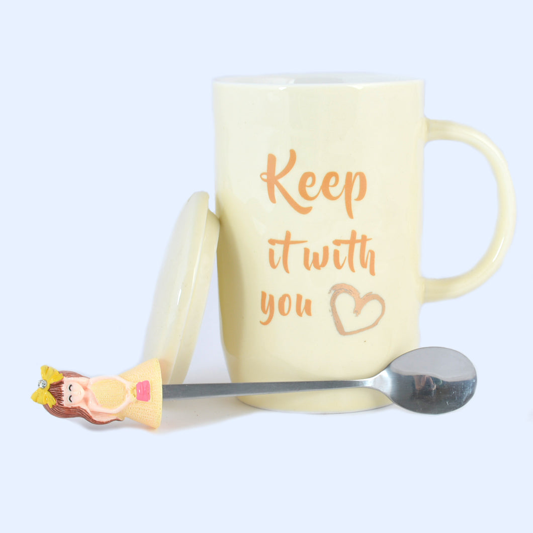 Keep it with you Ceramic Mug with Lid & Metallic Spoon