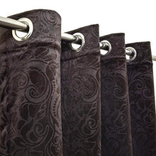 Self Embossed Velvet Curtain Dark Brown