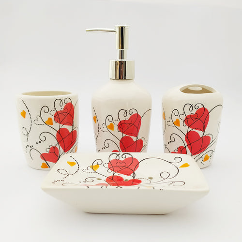 Red Heart Ceramic Bath Set