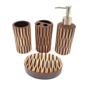 Spiral Brown Ceramic Bath set