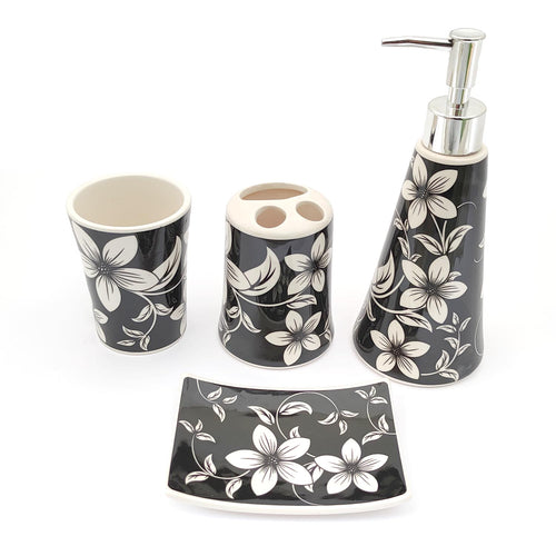 White Flowers Big Ceramic Bath set