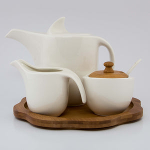 Tea Pot Set With Wooden Base