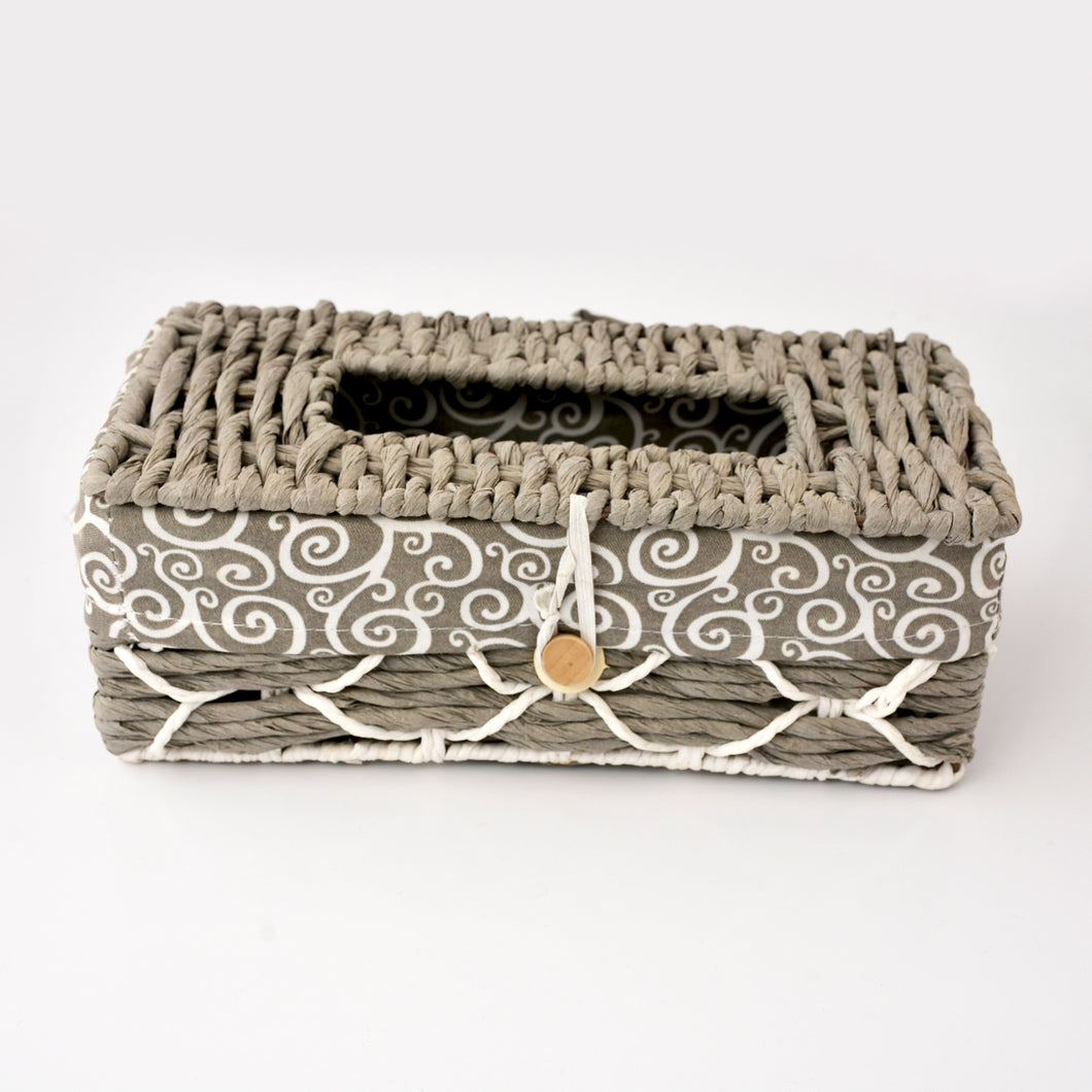 Braided Tissue Box Cover with Fabric Inner