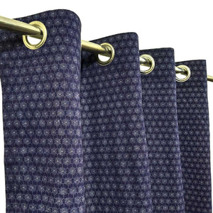 White on Navy Blue Base - Duck Cotton Curtain