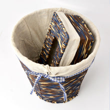 Braided Basket with Tissue Box Cover with Fabric Inner