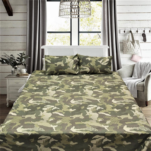 Army Camouflage King Size Bed Sheet With Two Pillow Cases