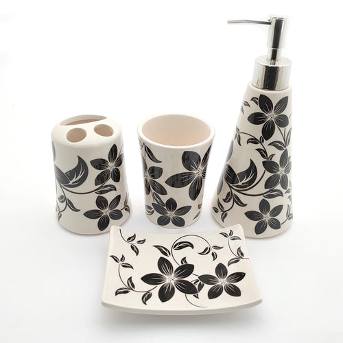 Black Flowers Big Ceramic Bath set