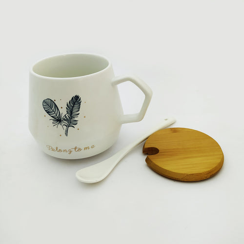 Belong To Me Ceramic Mug  with Lid and Spoon