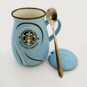 Frappuccino Ceramic Mug Blue with Lid and Spoon
