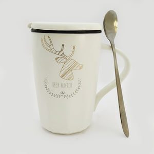 Deer Hunter Ceramic Mug with Lid and Spoon