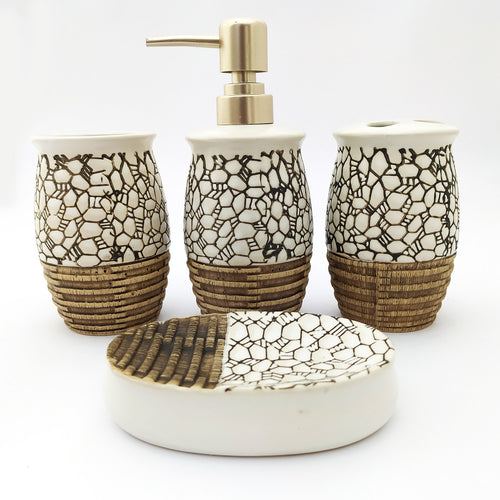 Marble Wood Ceramic Bath Set