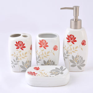 Floral Ceramic Bath Set