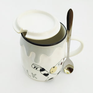Milk My Ceramic Mug Grey with Lid and Spoon