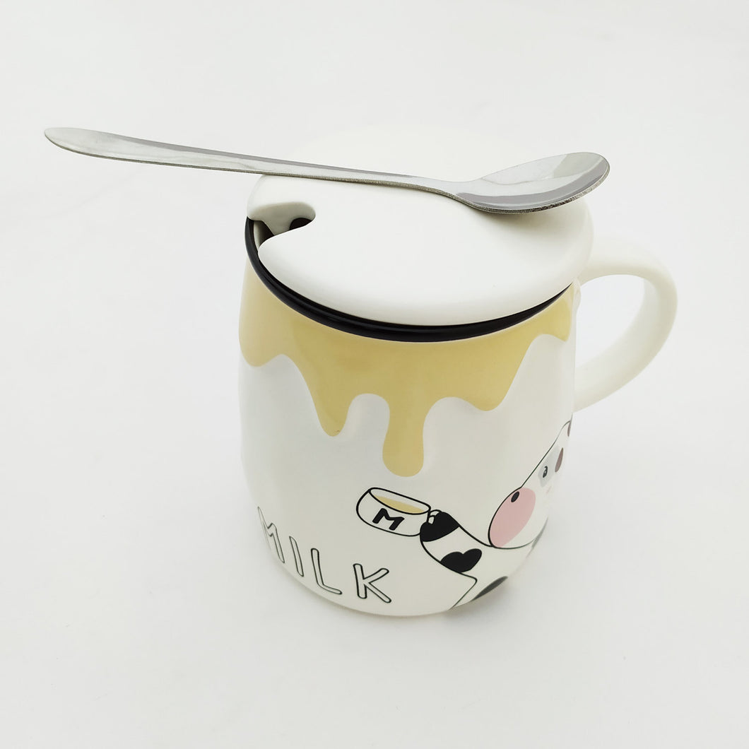 Milk My Ceramic Mug Yellow with Lid and Spoon