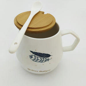 Believe That You Ceramic Mug with Lid and Spoon