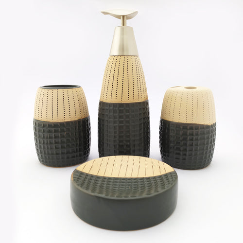 Cells & Dots Black Ceramic Bath Set