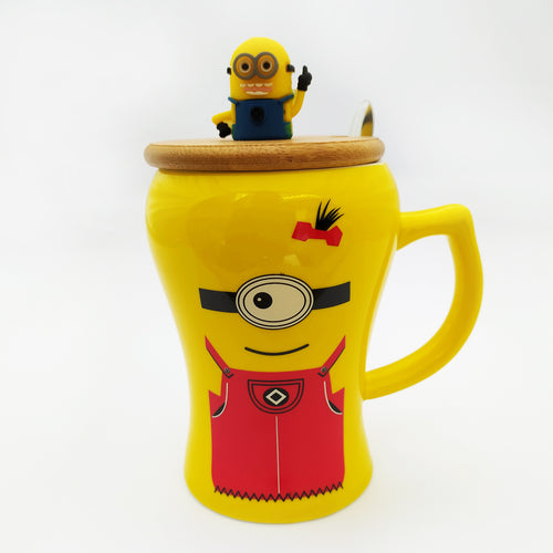 Minion Ceramic Mug with Lid and Spoon Red