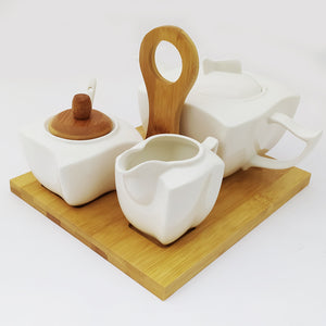 Coffee Set With Wooden Base