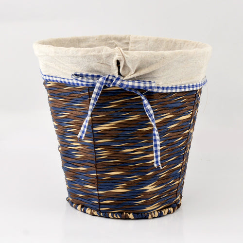 Braided Round Basket with Fabric Inner