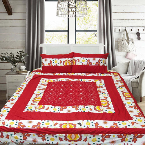 Patch Work King Size Bed Sheet With Two Pillow Cases