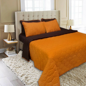 6 PCS BED SPREAD SET - BROWN REVERSE SAFRAN