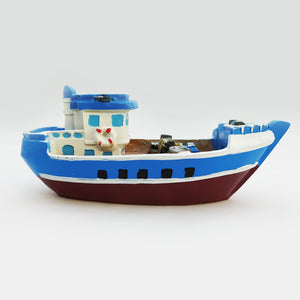 Blue color Wooden Ship Model Large