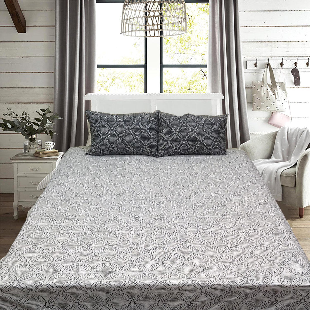 Gray Flowers King Size Bed Sheet With Two Pillow Cases