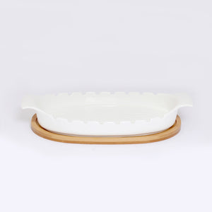 Baking Dish / Steak Serving Dish With Wooden Base