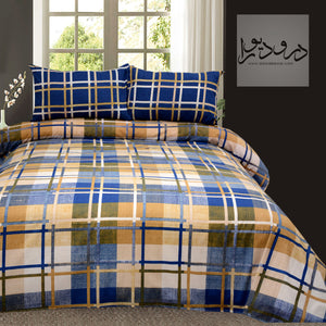 Blue Brown Checkard King Size Bed Sheet With Two Pillow Cases