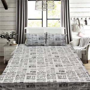 Scripted King Size Bed Sheet With Two Pillow Cases