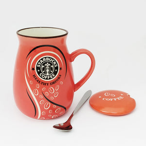 Starbucks Frappuccino Ceramic Mug with Lid and Spoon