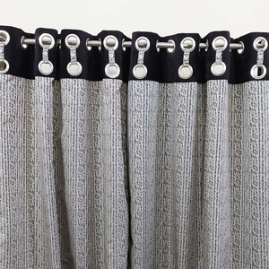 Pair of 16 Rings Design Jacquard with Velvet Top Thick Curtains