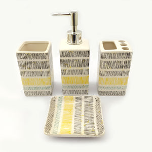 Bar Code Yellow Ceramic Bath Set