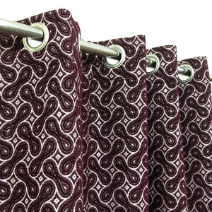 Thick Viscose Curtain Maroon Spiral