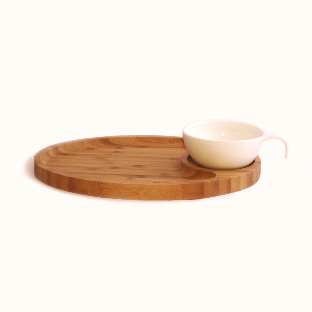 Bowl With Serving Bamboo Plate