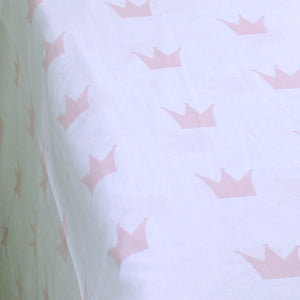 Pink Crown Single Bed Sheet With 1 Pillow Case