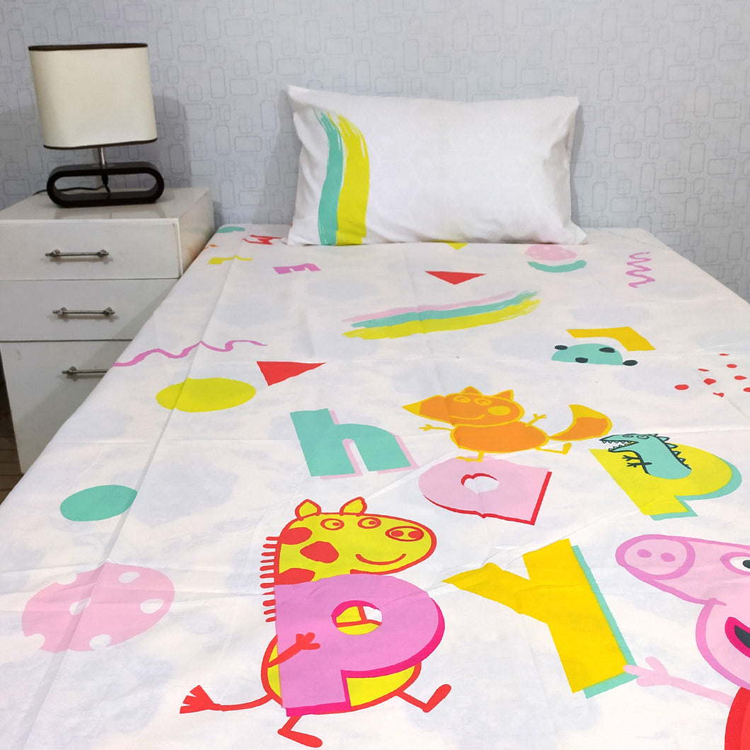 Oggy Kids Bed Sheet Single with 1 Pillow Case