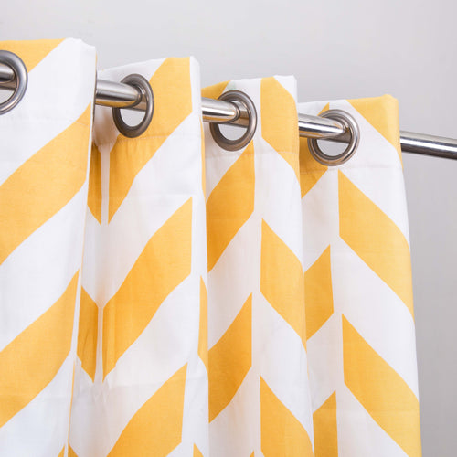 Yellow Zig Zag - Single Panel Curtain