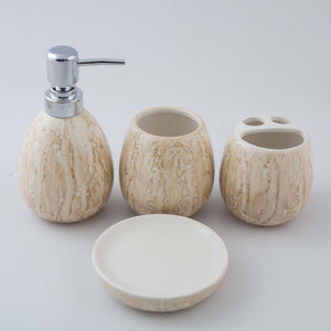 Light Brown Oval Ceramic Bath Set