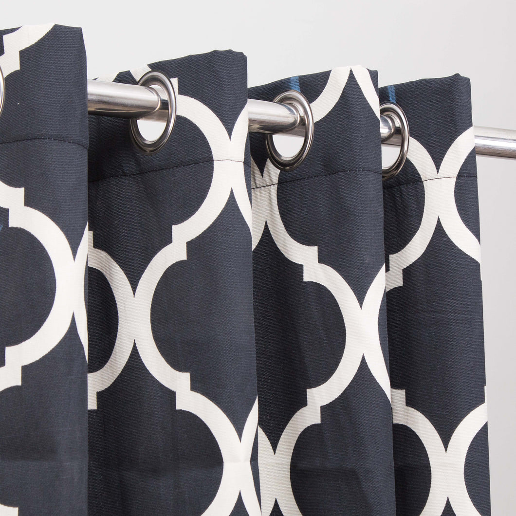 Last 1 Left Extra Discount Black Motif - Duck Cotton Curtain With Lining