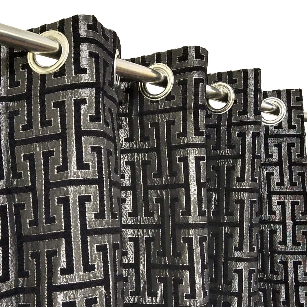 Thick Viscose Curtain Versace Black