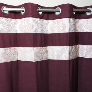 Maroon & Pink Thick Blackout Jacquard Curtain