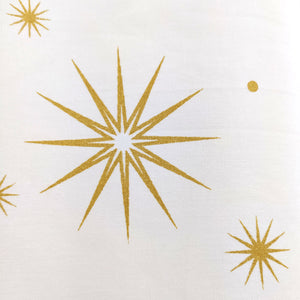 Golden Stars White - Duck Cotton Curtain