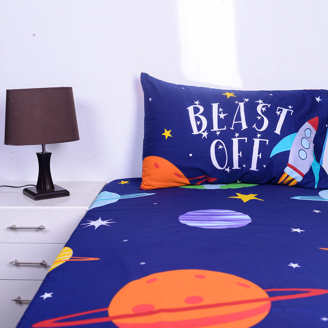 Galaxy Kids Bed Sheet With One Pillow Cases