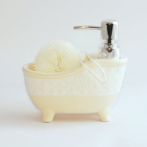 Ceramic Lotion Dispenser With Sponge