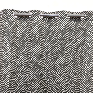 White Motif on Dark Grey Duck Cotton Curtain